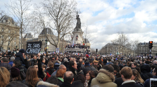Protesters march through Paris on Jan. 11, 2015. (Wikimedia Commons/Sébastien Amiet)