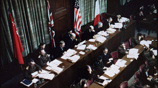 Judges deliberate at the trials of Nazi war criminals in Nuremberg, Germany on Jan. 1, 1945. (The U.S. Holocaust Memorial Museum)