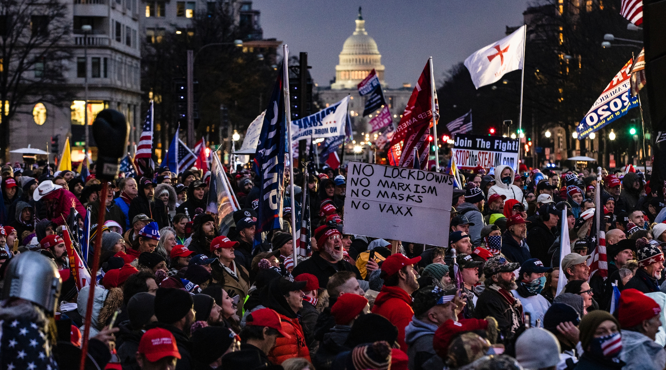 Supporters of President Donald Trump gather for a rally at Freedom Plaza in Washington, DC on January 5, 2021. A string of extremists are expected at the rally. (Samuel Corum/Getty Images)