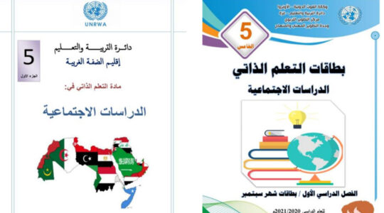 A flag map of the Middle East inside an UNRWA-produced textbook shows a blank space on Israel's territory. (IMPACT-se)
