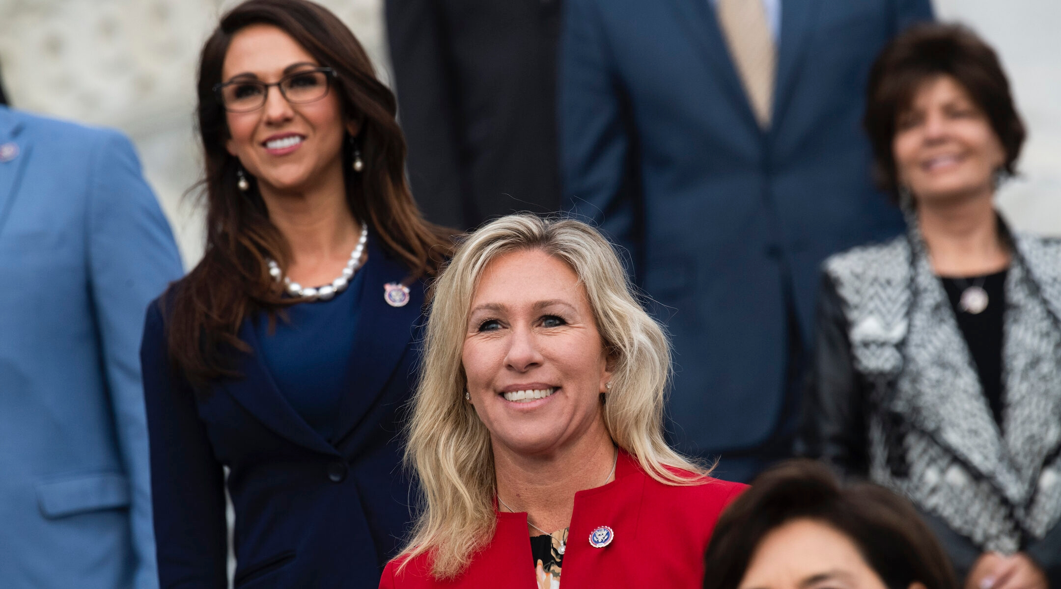 Reps. Marjorie Taylor Greene, R-Ga., and Lauren Boebert, R-Colo., left, are seen during a group photo with freshmen members of the House Republican Conference in Washington, D.C., on January 4, 2021. (Tom Williams/CQ-Roll Call, Inc via Getty Images)