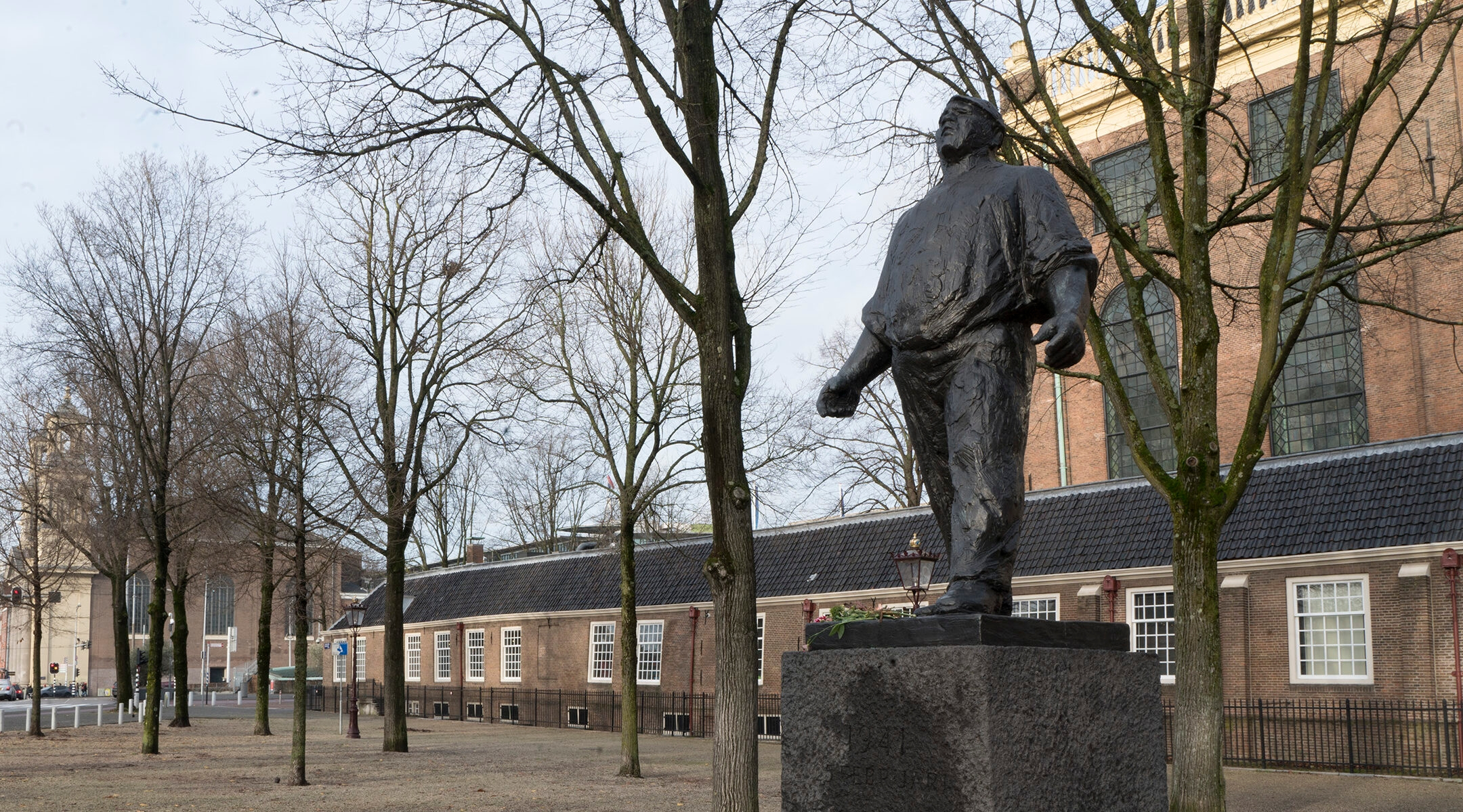 The Dock Worker, a statue that stands in front of the Portuguese synagogue, was inaugurated in 1952 to commemorate the participants of the 1941 February Strike in Amsterdam, the Netherlands. (Cnaan Liphshiz)