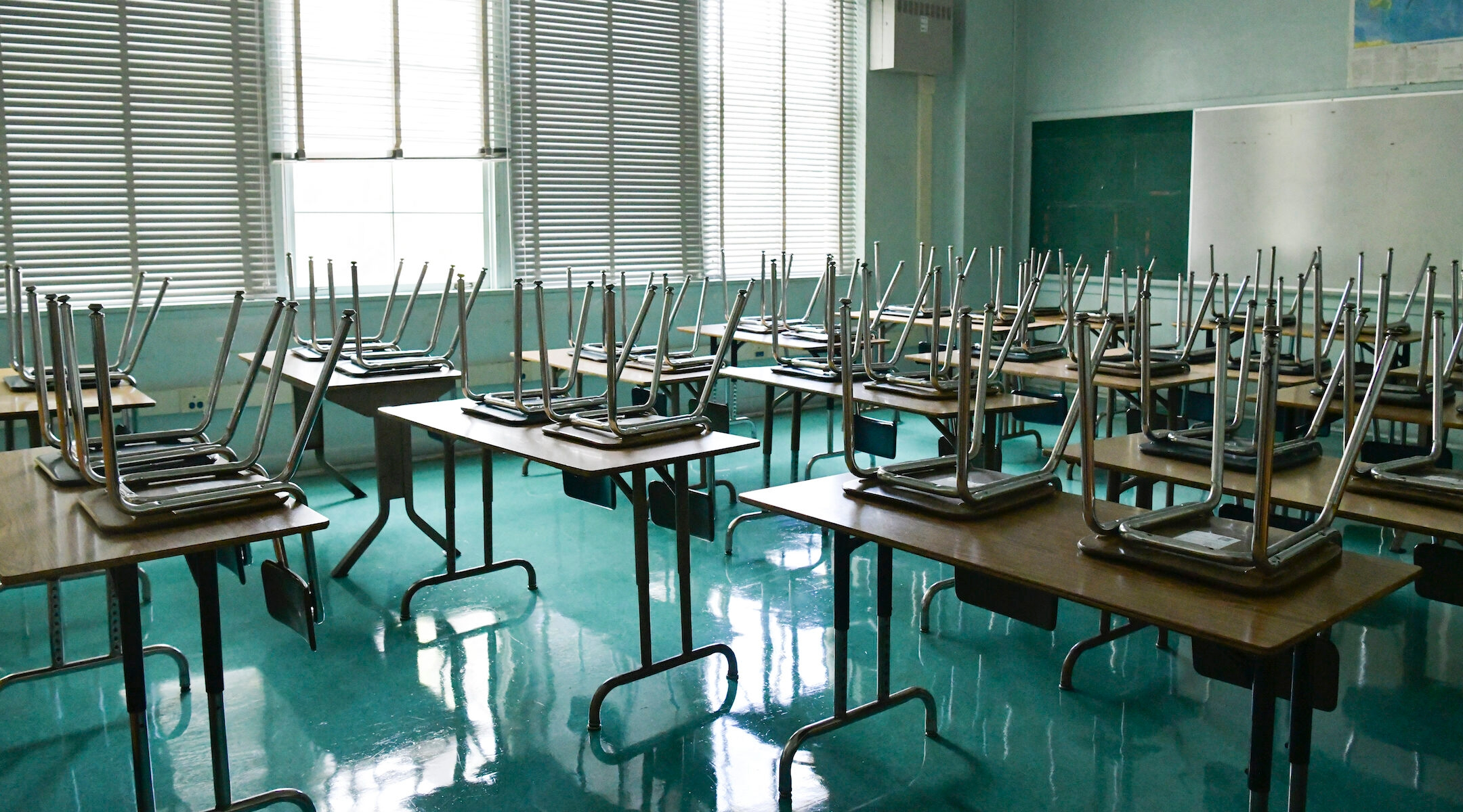 An empty classroom in Hollywood, California, seen in August 2020. The ethnic studies curriculum was an attempt to reflect the experiences and perspectives of California's minority communities in its education system. (Rodin Eckenroth/Getty Images)