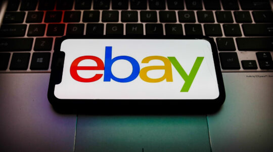 The eBay logo. (Jakub Porzycki/NurPhoto via Getty Images)