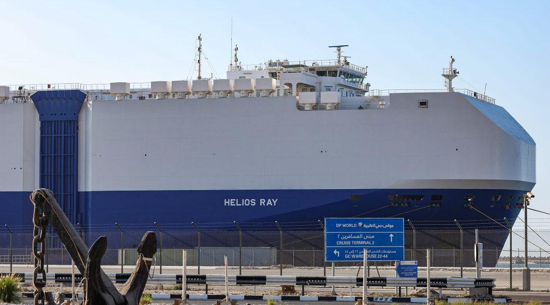 The Israeli-owned Bahamian-flagged MV Helios Ray cargo ship docks at the Mina Rashid cruise terminal of Dubai, the United Arab Emirates on Feb. 28, 2021. (Giuseppe Cacace / AFP via Getty Images)