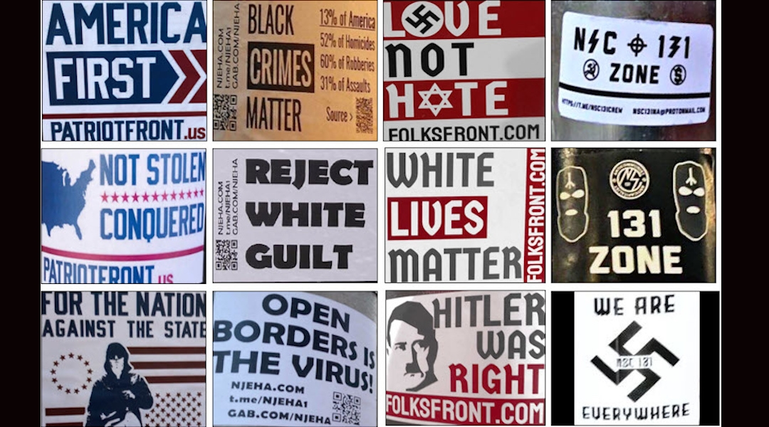 Examples of white supremacist propaganda recorded by the Anti-Defamation League in 2020. Many pieces reference American iconography or slogans. (Courtesy of the ADL)