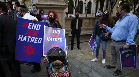 A crowd protests against anti-Semitism in New York City on October 15, 2020. (Tayfun Coskun/Anadolu Agency via Getty Images)