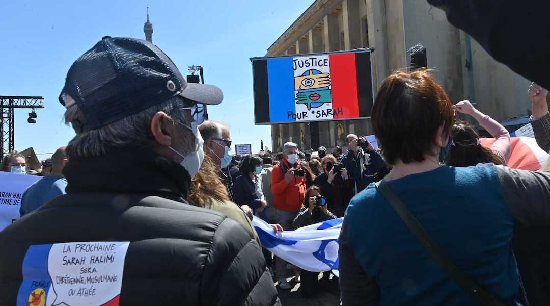 The protest against a ruling on the 2017 murder of Sarah Halimi drew thousands in Paris on April 25, 2021. (Cnaan Lihpshiz)