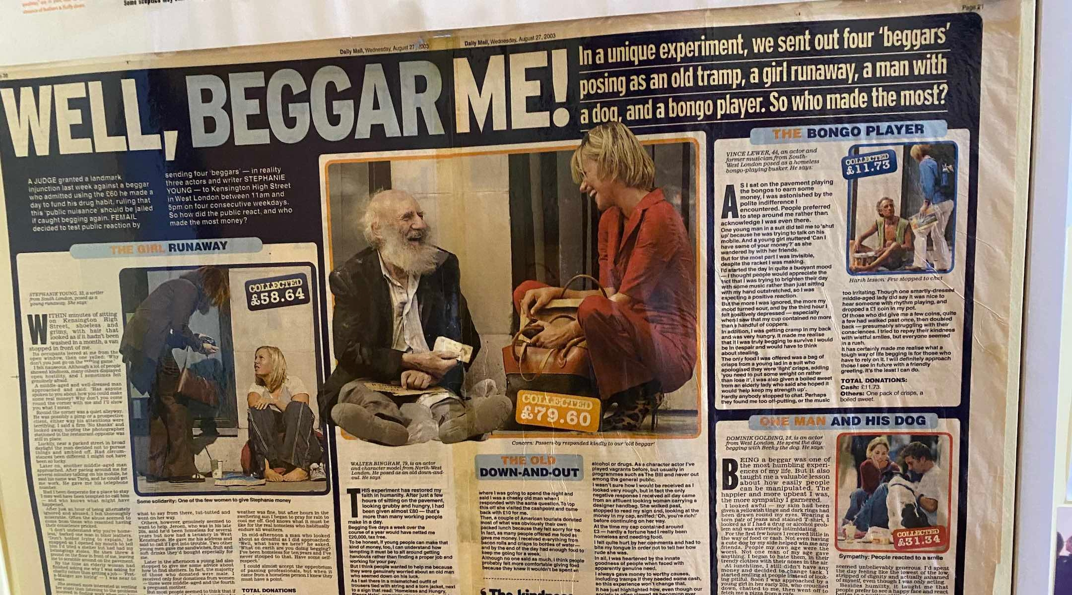 Bingham once impersonated a beggar on the street in London for a feature in the Daily Mail. (Sam Sokol)