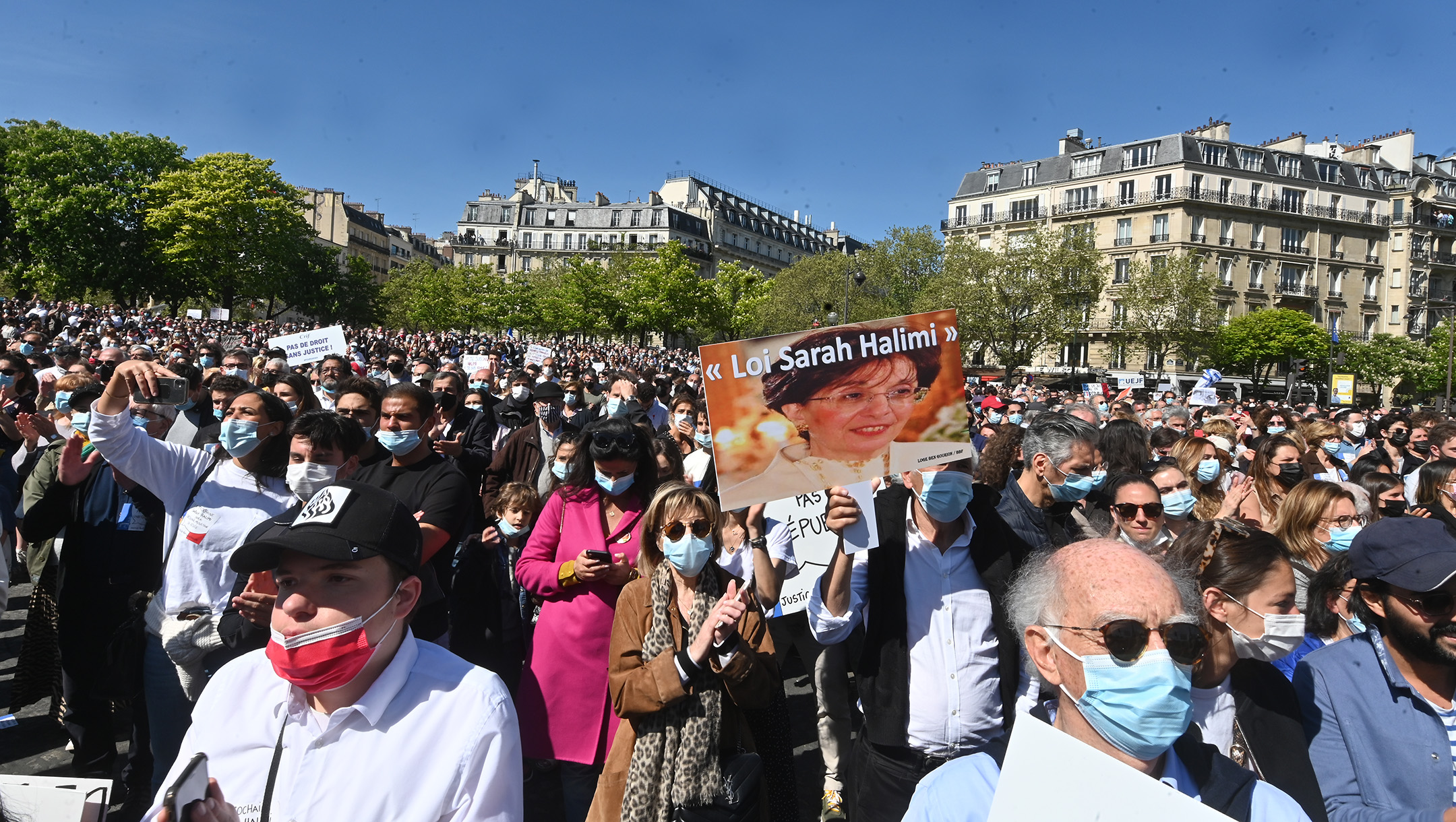 About 20,000 people showed up for the main 'Justice for Sarah Halimi' rally in Paris, France on April 25, 2021. (Cnaan Liphshiz)