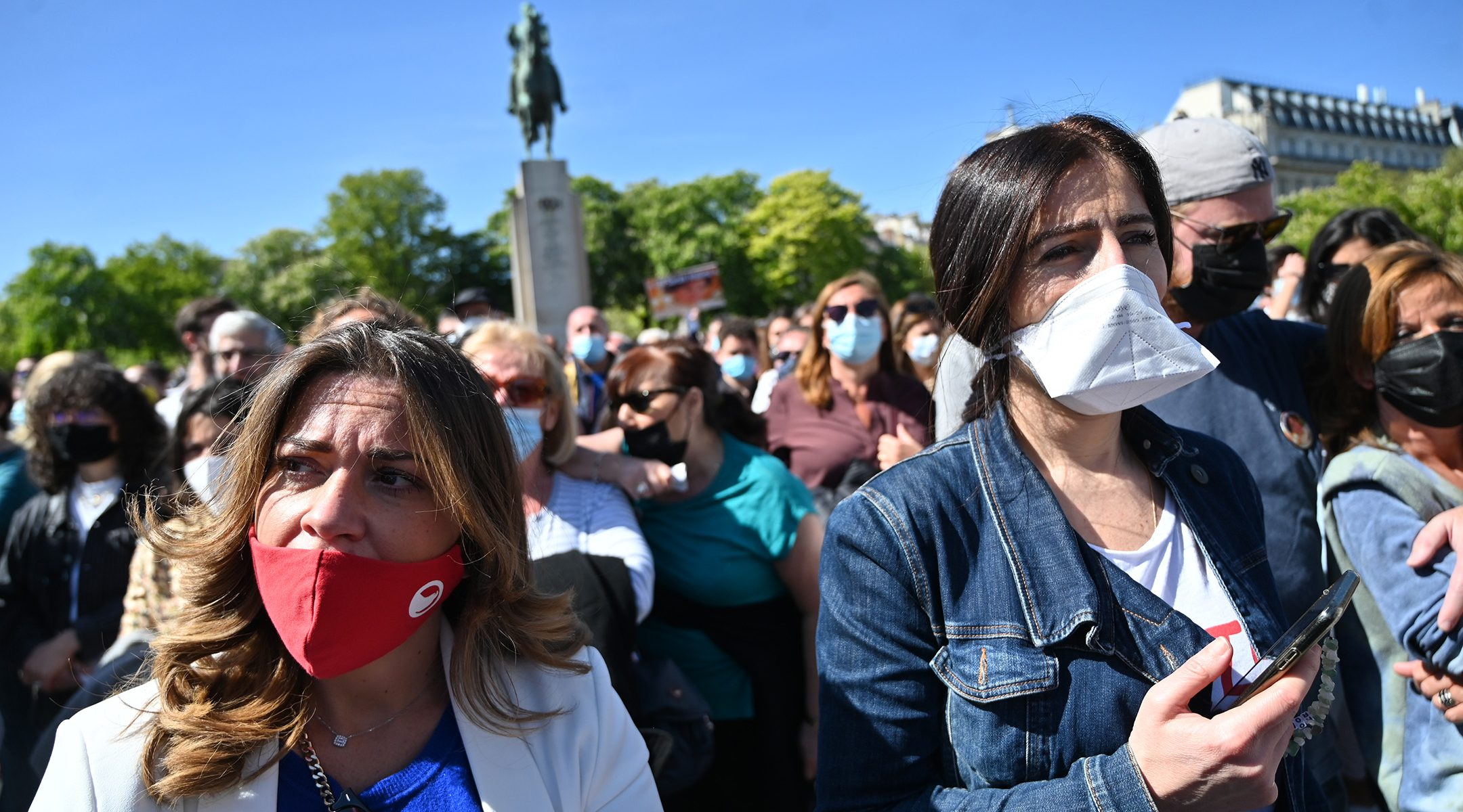 Protesters attend the 'Justice for Sarah Halimi' rally in Paris, France on April 25, 2021. (Cnaan Liphshiz)