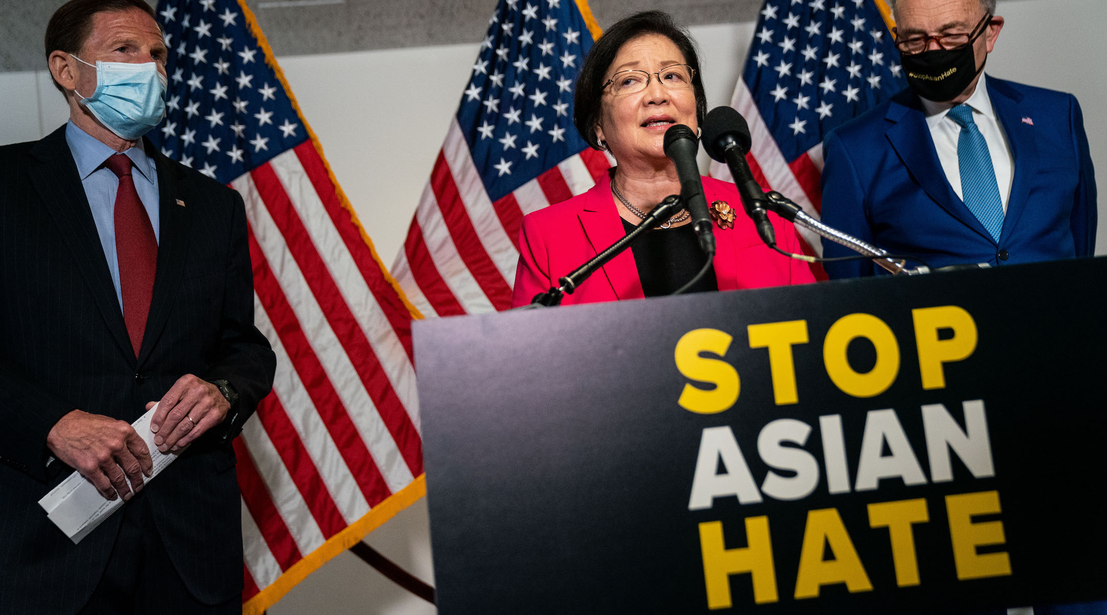 Sen. Mazie Hirono, who introduced the COVID-19 Hate Crimes Act, speaks in Washington, D.C. on April 20, 2021. (Kent Nishimura / Los Angeles Times via Getty Images)