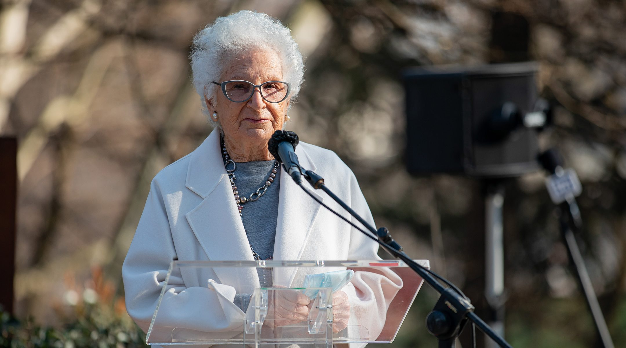Liliana Segre attends a ceremony honoring people who saved Jews during the Holocaust in Milan, Italy March 05, 2021. (Alessandro Bremec/NurPhoto via Getty Images)