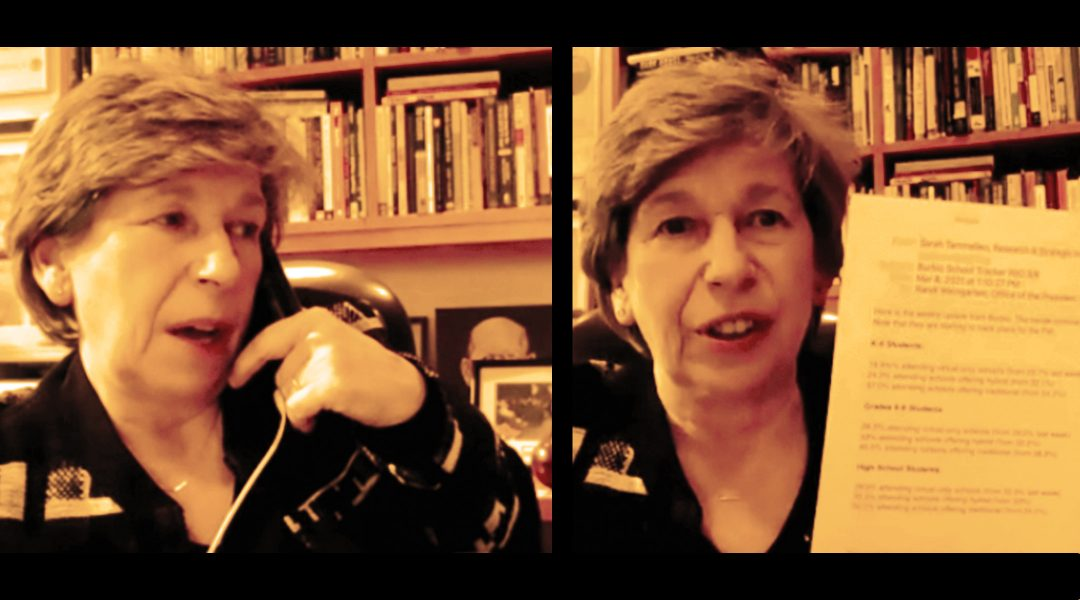 Randi Weingarten during a March 9 Zoom call with the Jewish Telegraphic Agency. (Screenshot from Zoom)