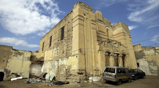 A picture shows the abandoned Dar Bishi synagogue in the Libyan capital Tripoli on September 28, 2011. (Joseph Eid/AFP via Getty Images)