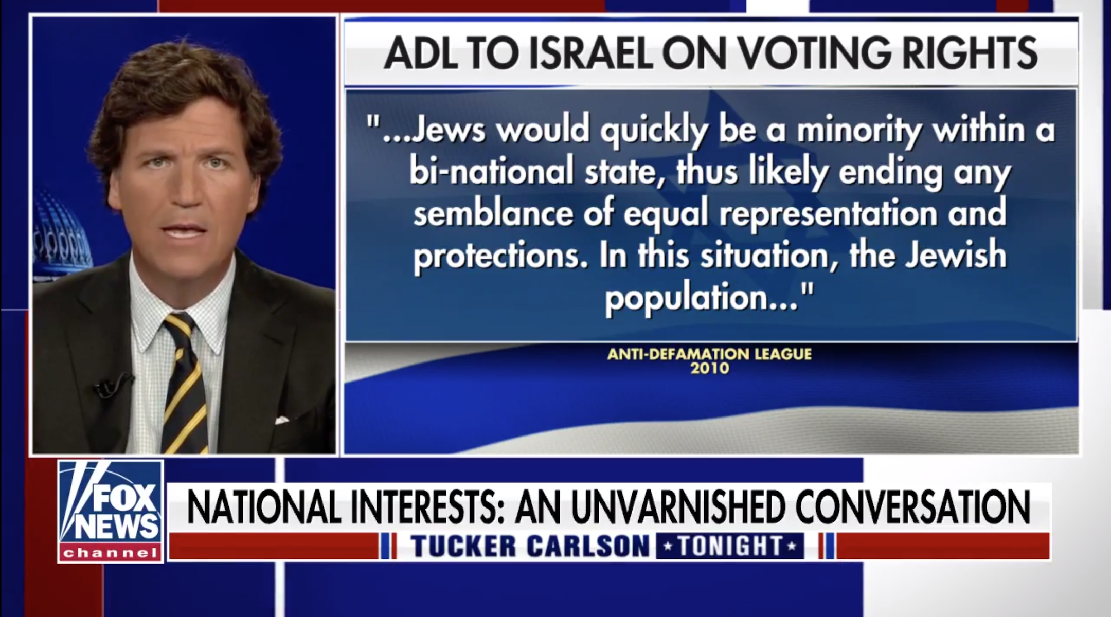 Tucker Carlson took aim at the Anti-Defamation League in his monologue Monday. (Screen shot)