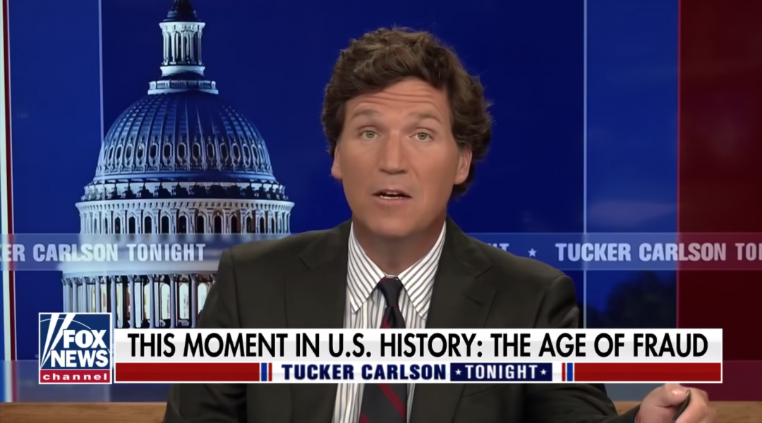 Tucker Carlson speaking on Fox News on April 9. (Screen shot)