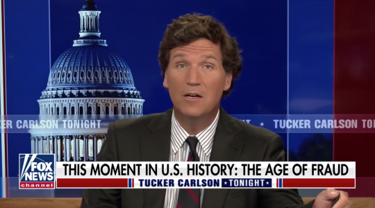 Tucker Carlson speaking on Fox News on April 9. (Screen shot)