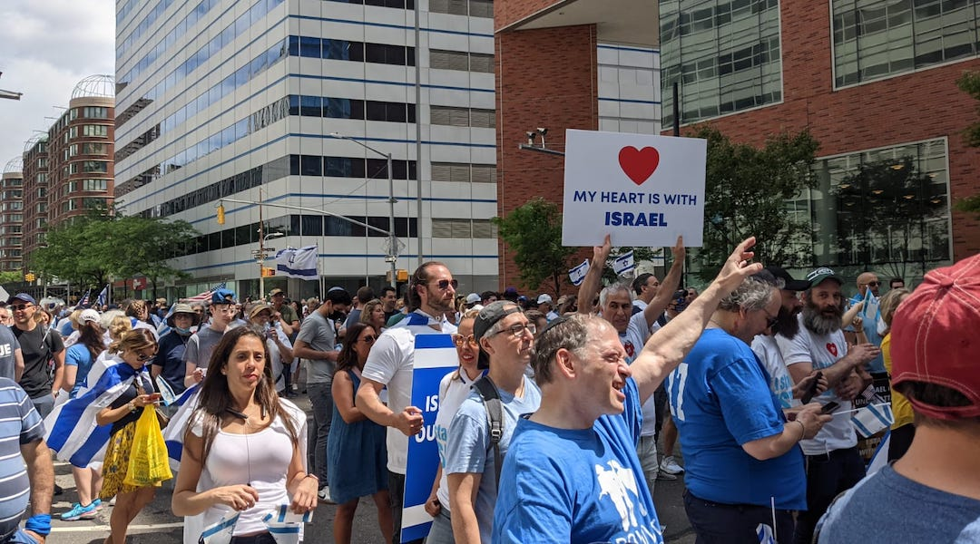 Attendees at the pro-Israel rally in New York City on May 23, 2021. (Ben Sales)