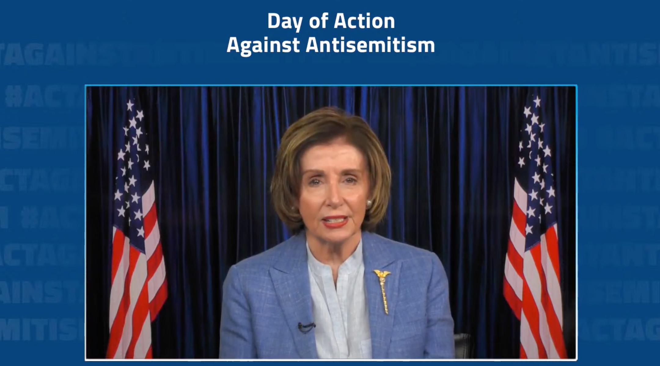 House Speaker Nancy Pelosi speaks at a virtual rally to combat antisemitism on May 27, 2021. (Screenshot)