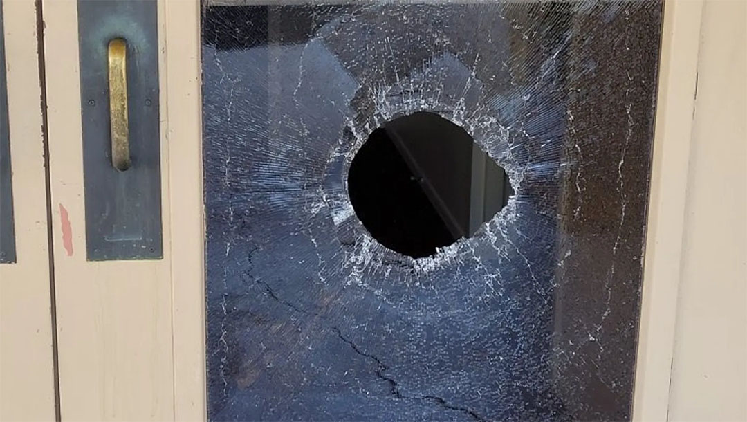 The aftermath of an allegedly antisemitic attack at the Chaverim Congregation in Tucson, Arizona on May 18, 2021. (Chaverim Congregation)
