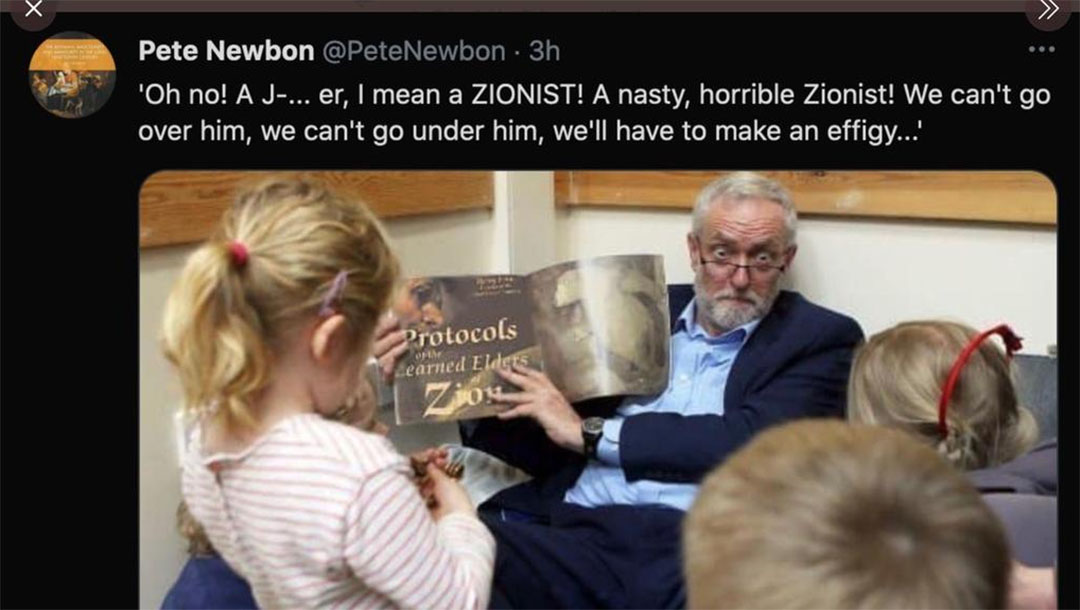 A doctored image of Jeremy Corbyn shared on Twitter by Pete Newbon. (Twitter)