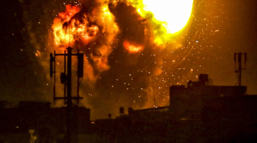 Israel Defense Forces strikes cause an explosion in Khan Yunes in the northern Gaza Strip on May 16, 2021. (Abed Rahim Khatib/FLASH90)
