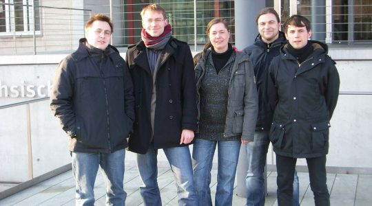 Katrin Wengler, center, poses with colleagues at the state parliament of Saxony, Germany in 2010. (Courtesy of the office of Holger Mann)