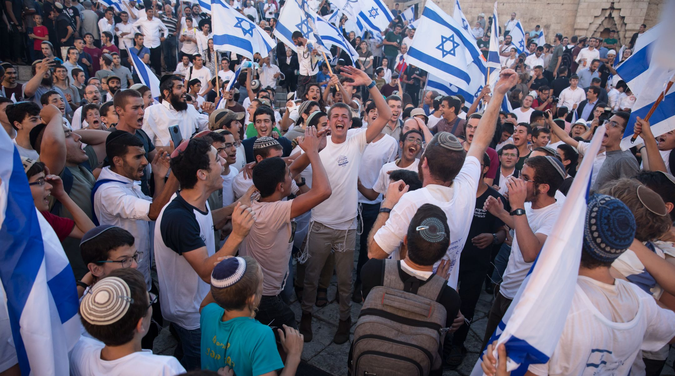 At a Jerusalem march featuring chants of 'Death to Arabs,' Israeli police arrest 17 Palestinian...