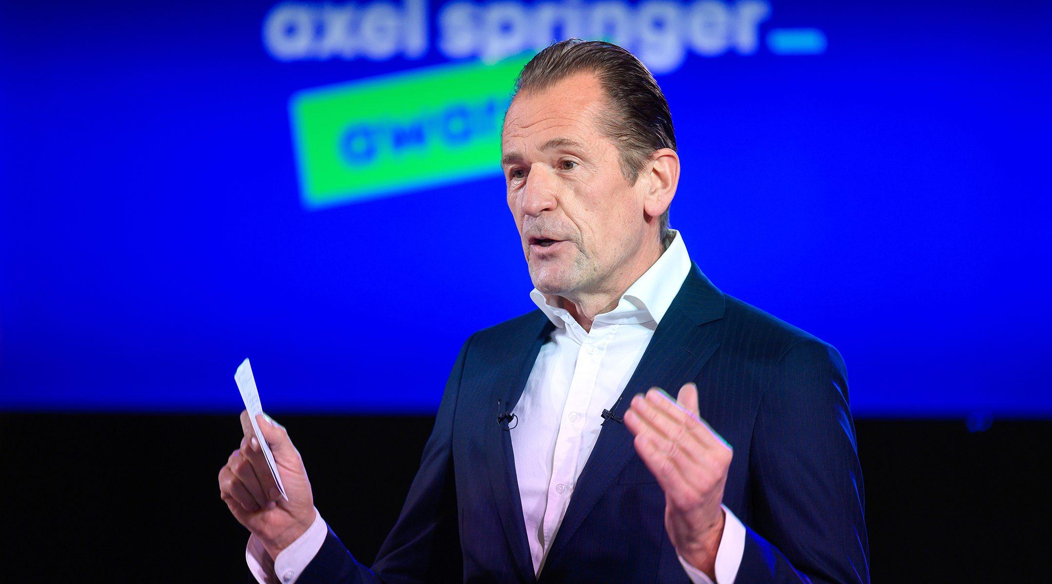 Mathias Döpfner, CEO of Axel Springer SE, speaks at the opening of the Axel Springer Award ceremony in Berlin, Germany on March 18, 2021. (Bernd von Jutrczenka - Pool/Getty Images)