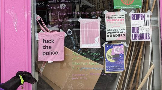Police confiscated the tote bag on display here in the display window of The Pink Peacock in Scotland, UK. (Courtesy of The Pink Peacock)