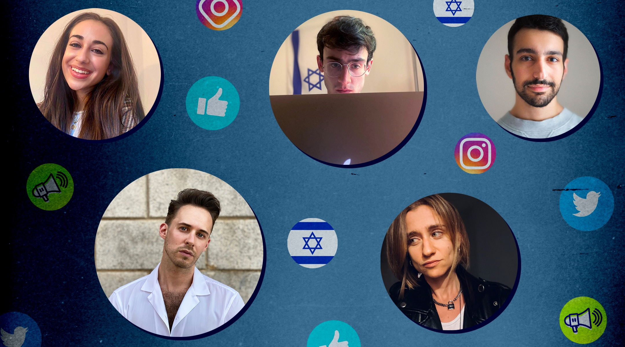 A cohort of young Jews is trying to combat antisemitism and anti-Zionism on social media. Clockwise from top left: Julia Jassey, Blake Flayton, Isaac de Castro, Eve Barlow, Ben Freeman. (Photo illustration by Grace Yagel)