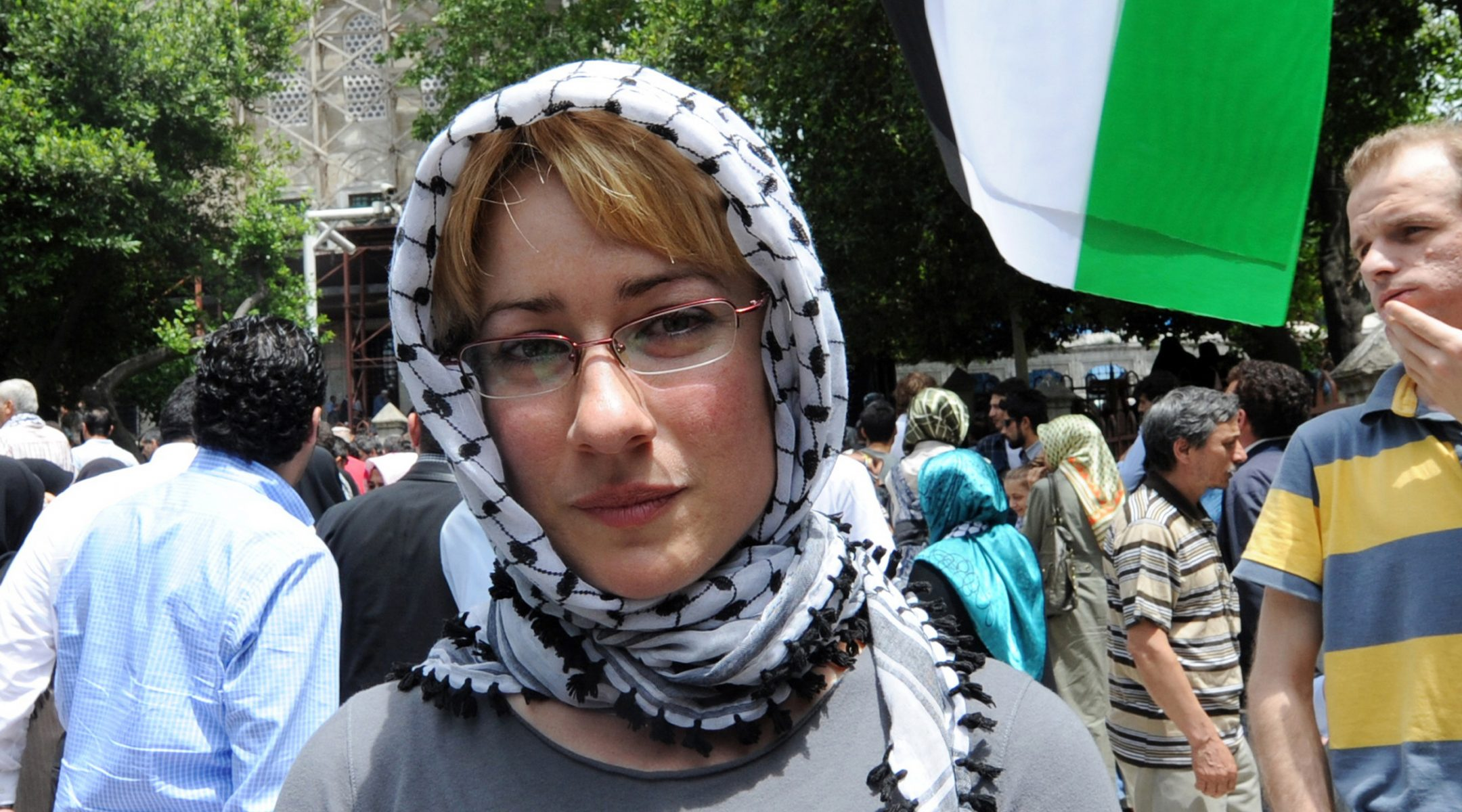 Ewa Jasiewicz attends a protest rally against Israel in Istanbul, Turkey on June 3, 2010. (Bulent Kilic/AFP via Getty Images)