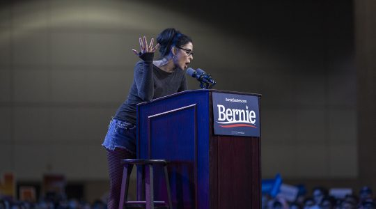 Sarah Silverman speaks at a campaign rally for Bernie Sanders