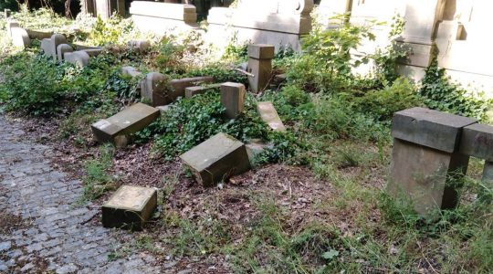 Toppled and smashed headstone lie scattered at the Jewish Cemetery of Wroclaw, Poland on June 16, 2021. (The Jewish Community of Wroclaw)
