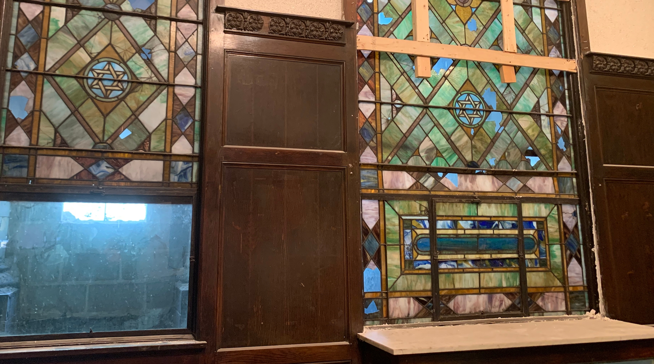 Stained-glass windows in a former synagogue on Chicago's South Side