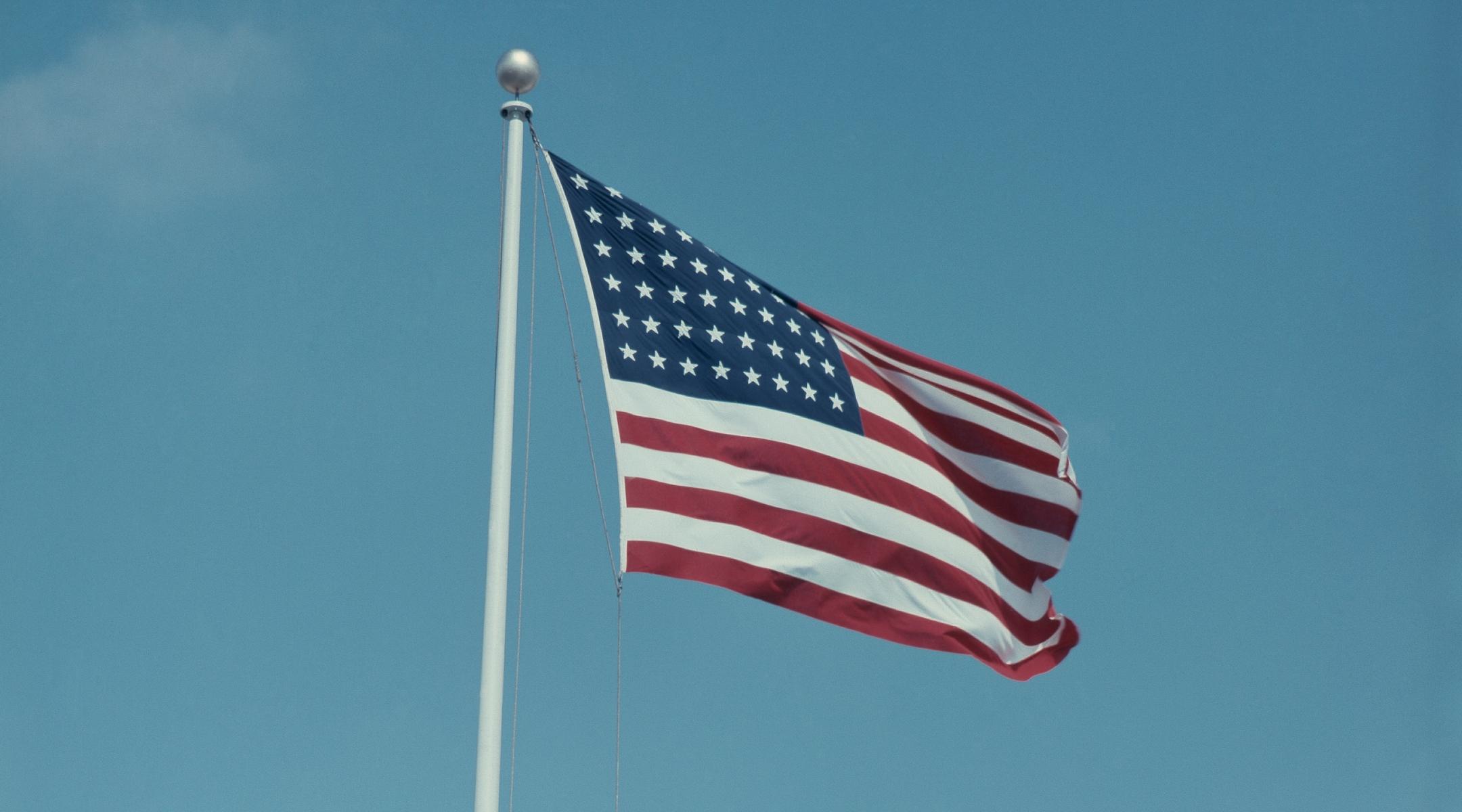 An American flag, 1958.