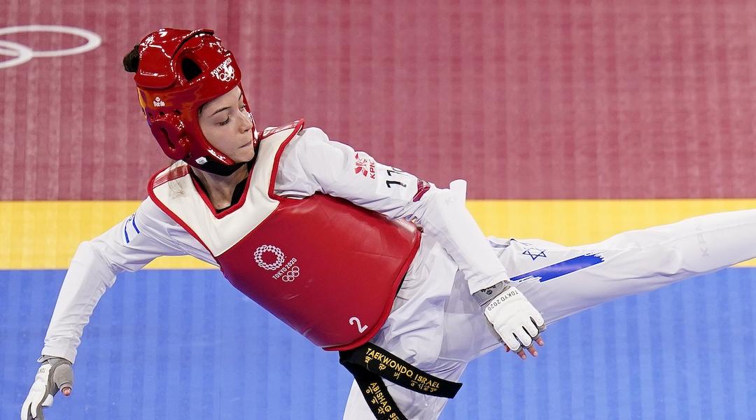 Israel's Avishag Semberg competes in the women's -49kg Taekwando tournament