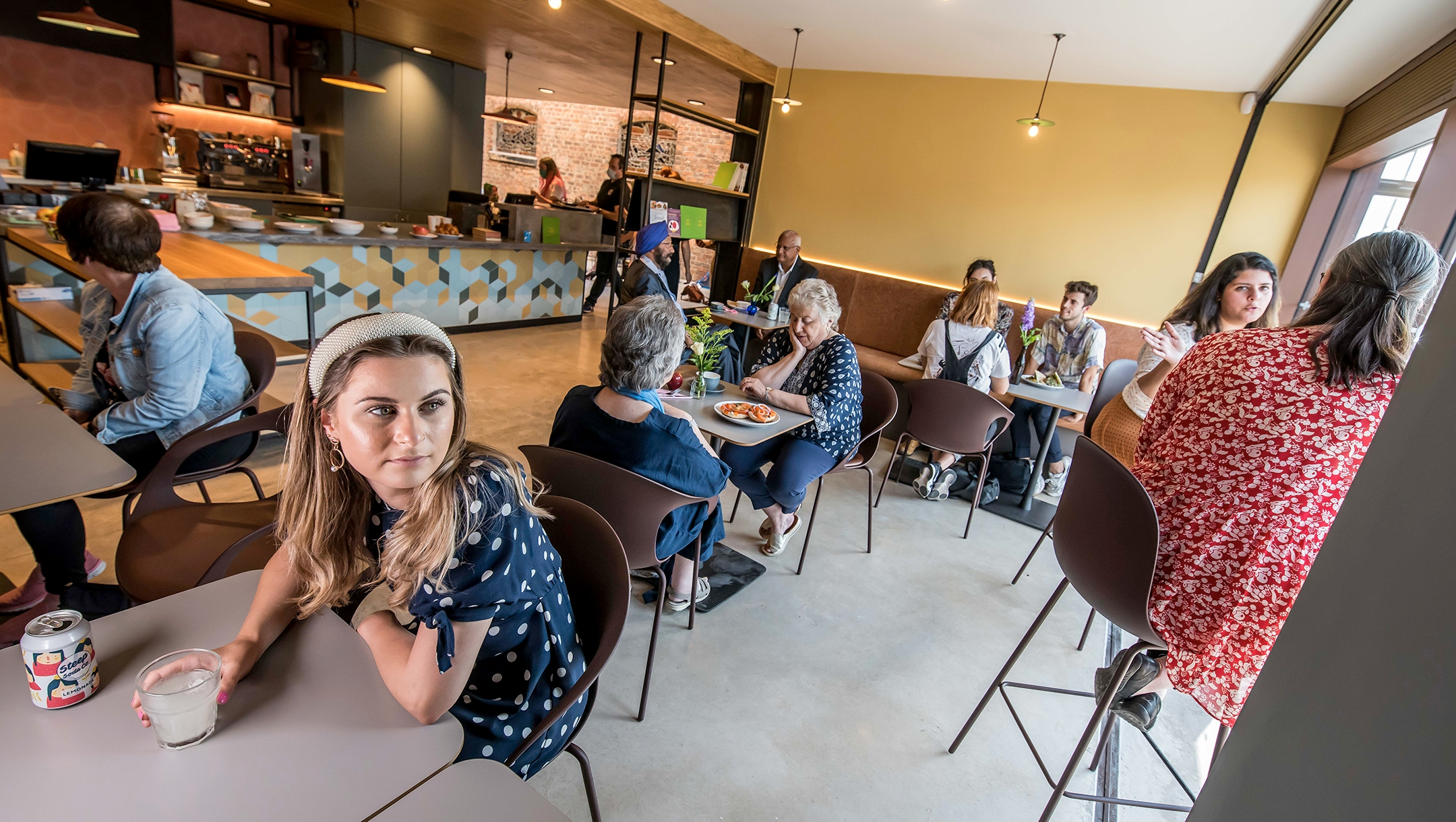 The newly-opened kosher-style café is part of a metal-exterior extension added to the Manchester Jewish Museum in Manchester, during 2 years of renovations that began in 2019. (Chris Payne)