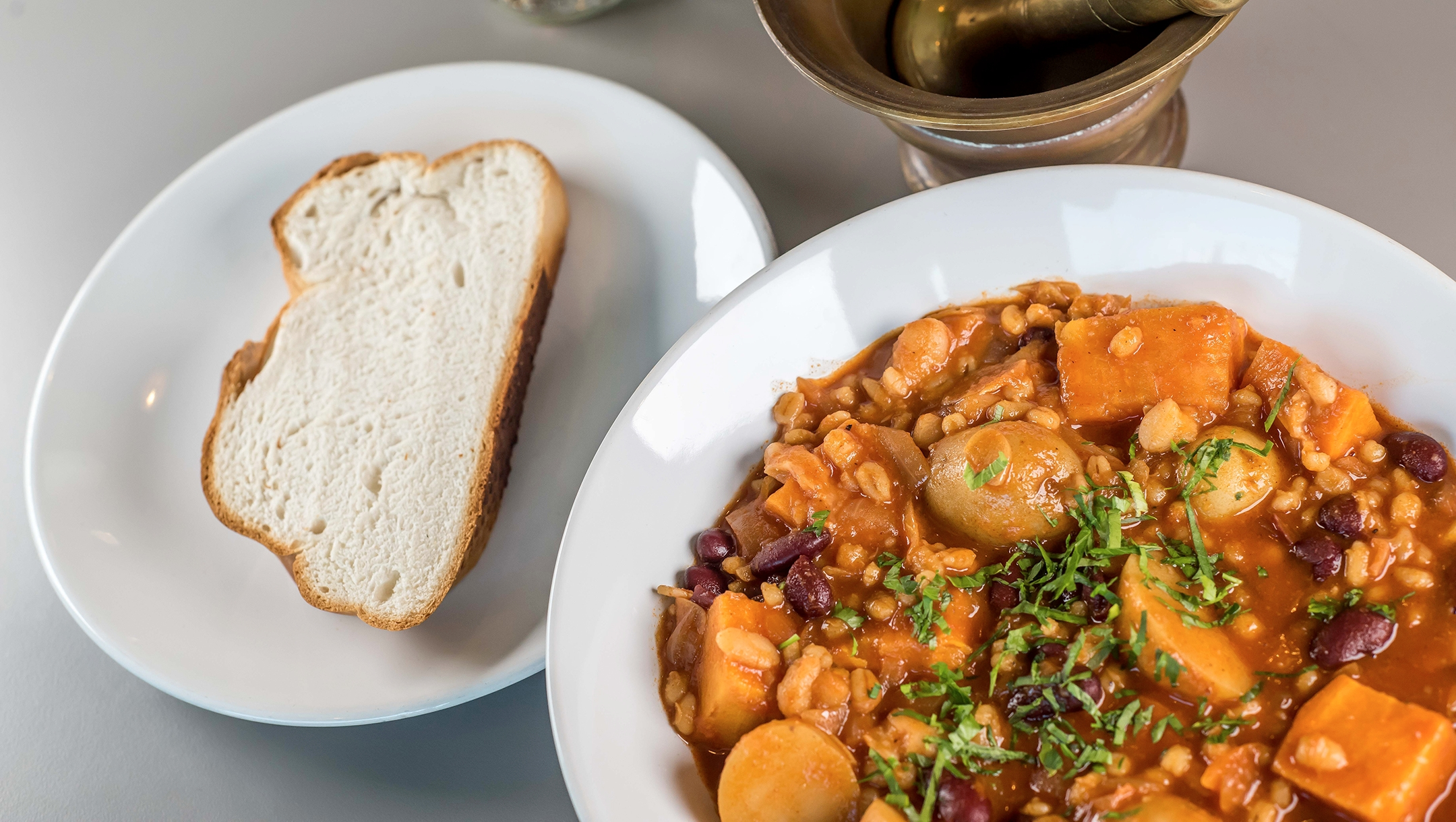 Cholent is featured and served at the kosher-style café at the Manchester Jewish Museum in Manchester, UK, which reopened following renovations on July 2, 2021. (Chris Payne)