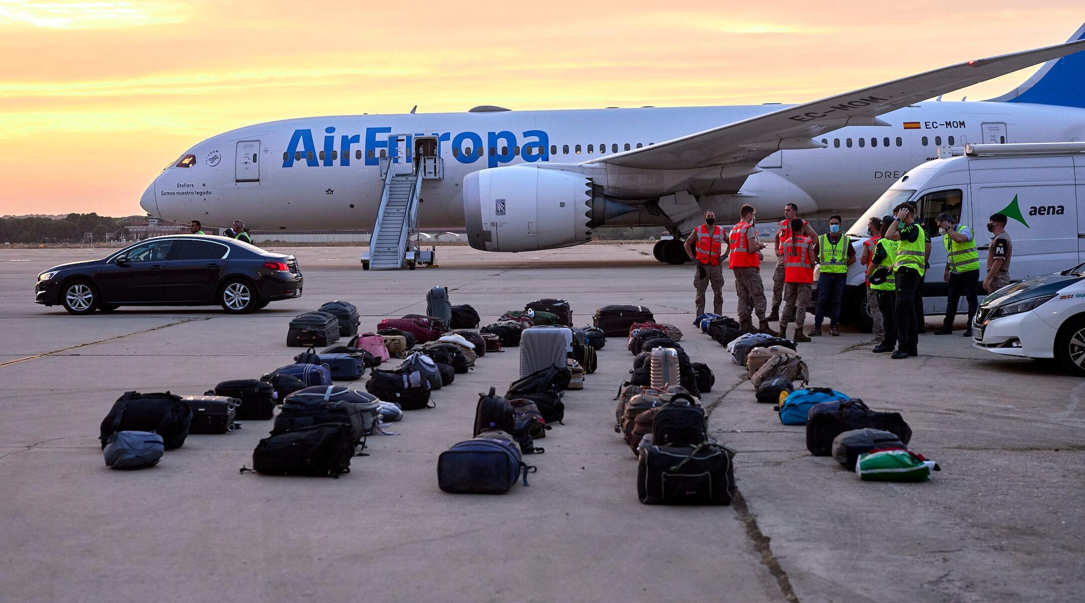 Afghan refugees' luggage