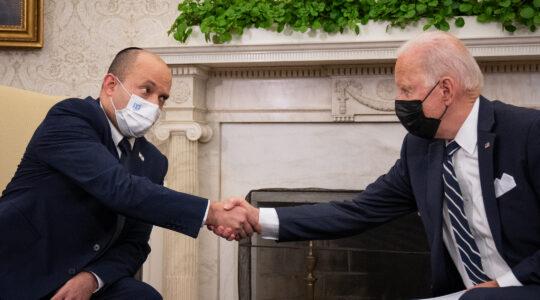 Naftali Bennett shakes hands with Joe Biden