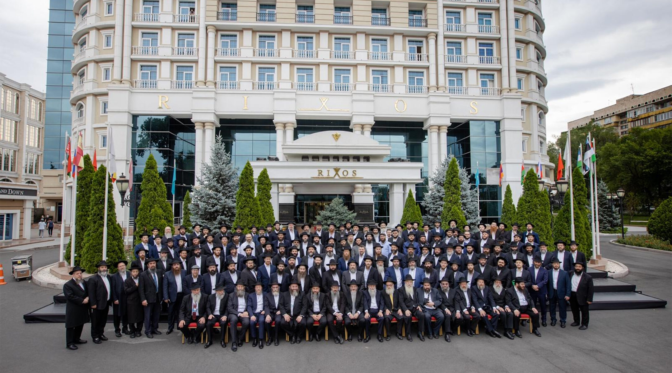 Chabad rabbis from across the former Soviet Union pose for a group photo in Almaty, Kazakhstan on July 29, 2021. (Yehezkel Itkin)