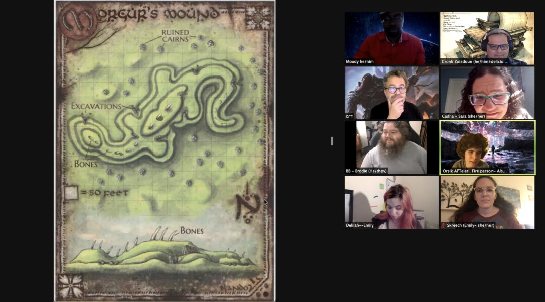 """A group of rabbis on Zoom inspect a """"Dungeons & Dragons"""" game map"""