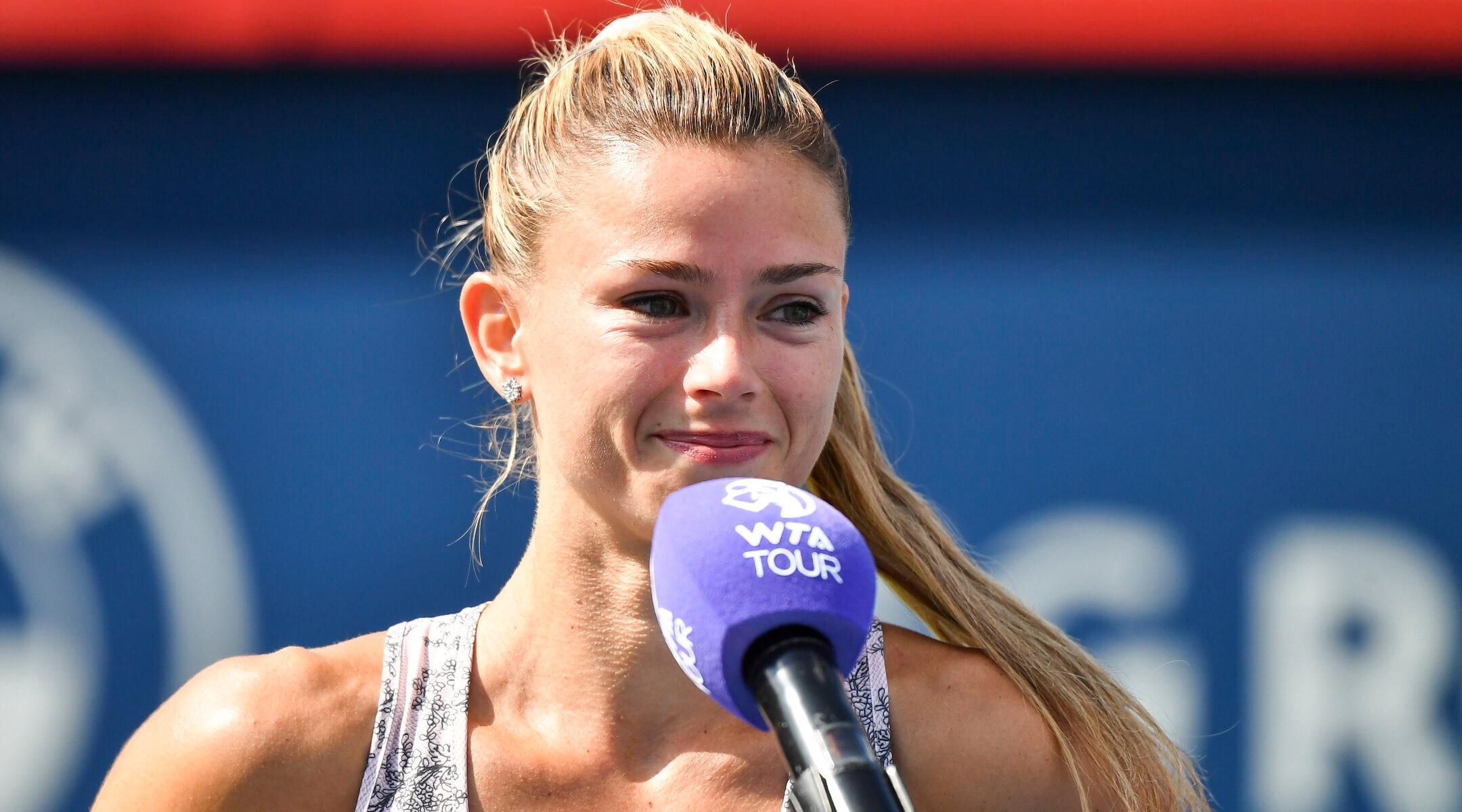 Camila Giorgi addresses spectators after winningthe National Bank Open