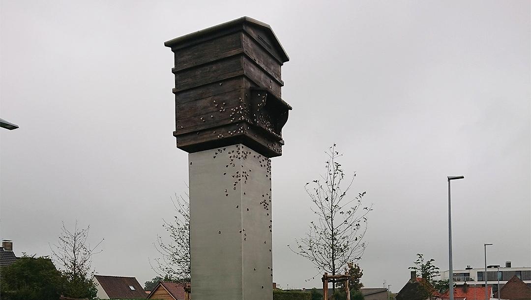 "The statue ""Latvian Beehive"" in Zedelgem, Belgium. (Okupacijas Muzejs)"