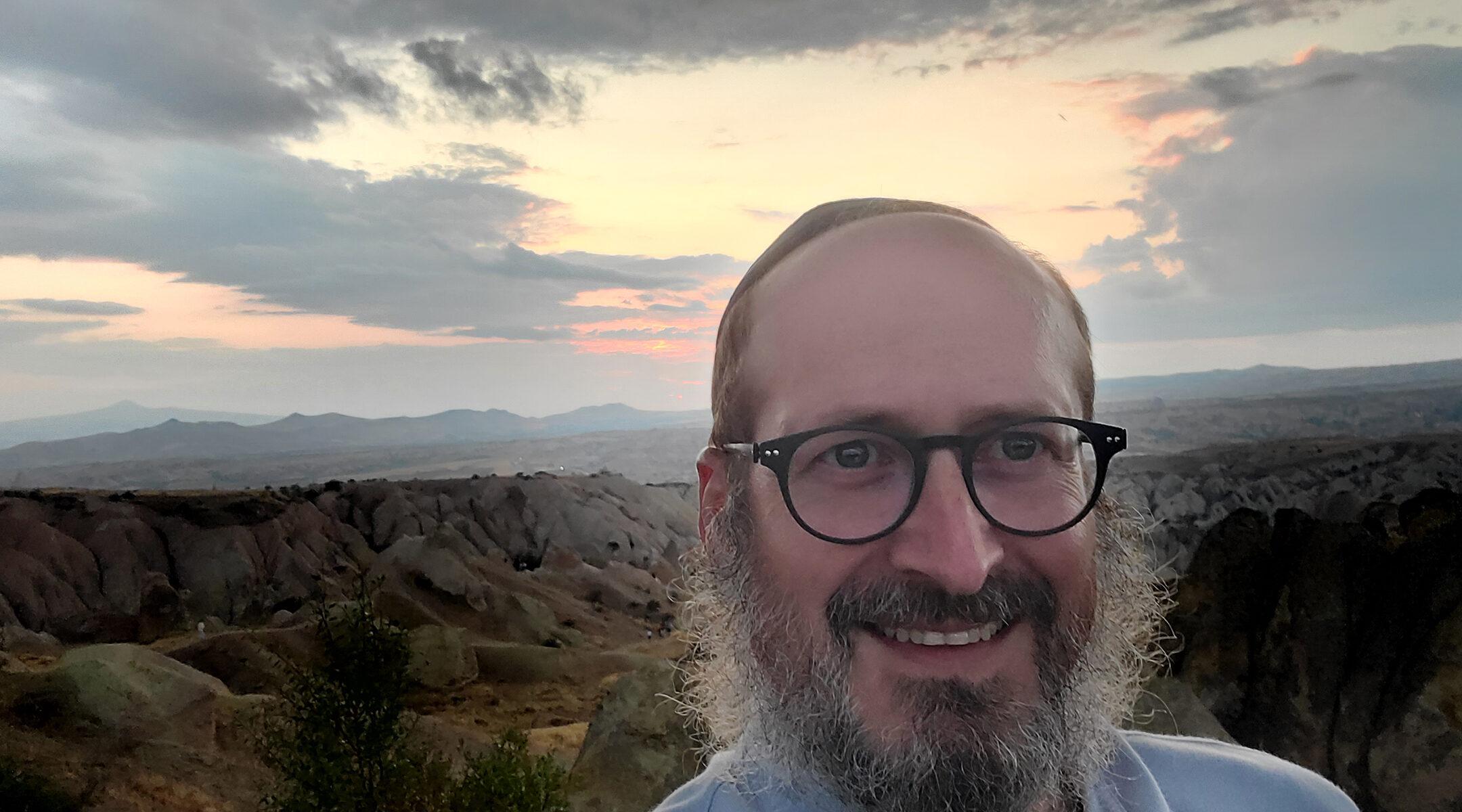 Rabbi Mendy Chitrik takes a selfie at sunset in Turkey on Aug. 9, 2021. (Courtesy of Chitrik)