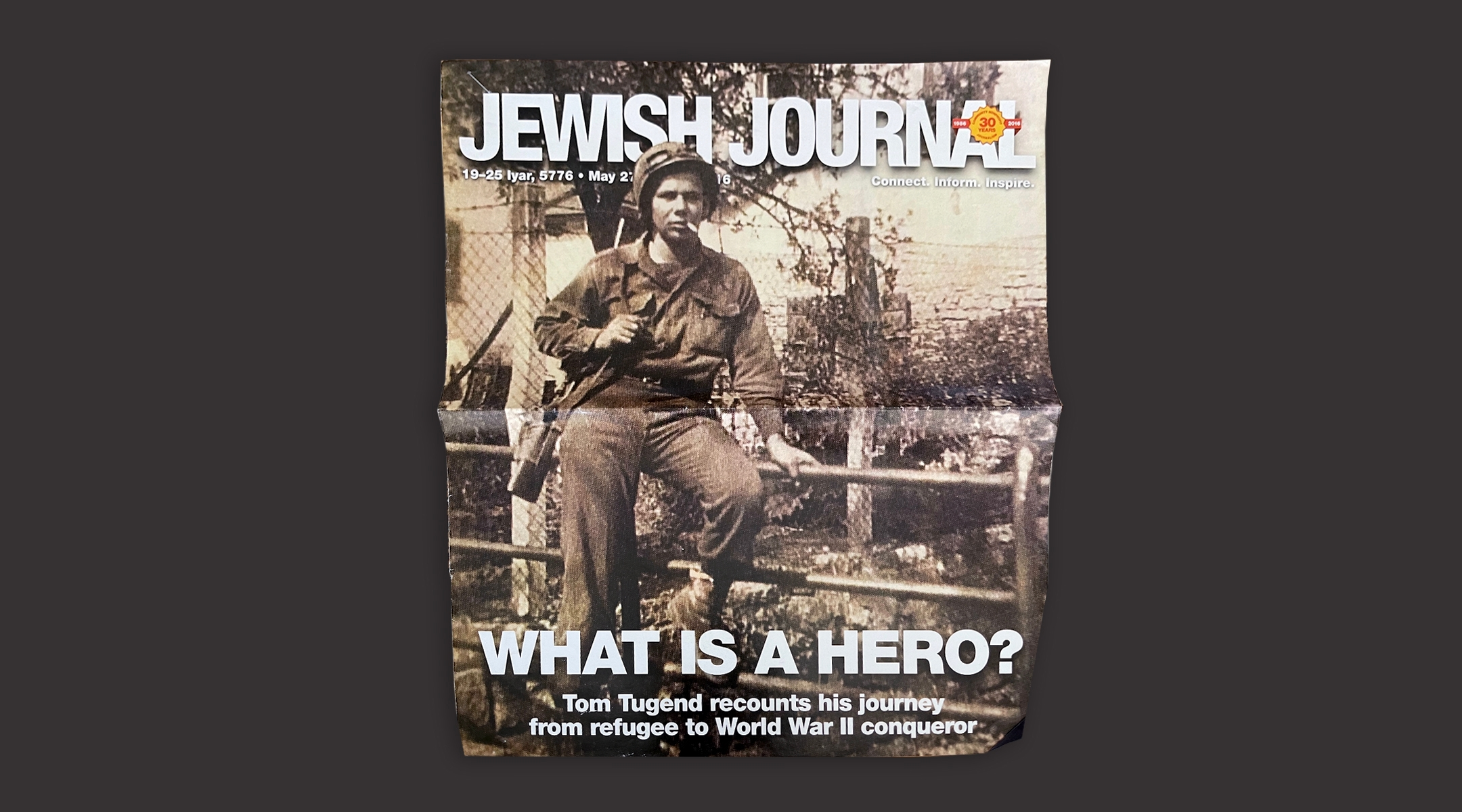 Tom Tugend on the cover of The Jewish Journal of Greater Los Angeles, May 2016.