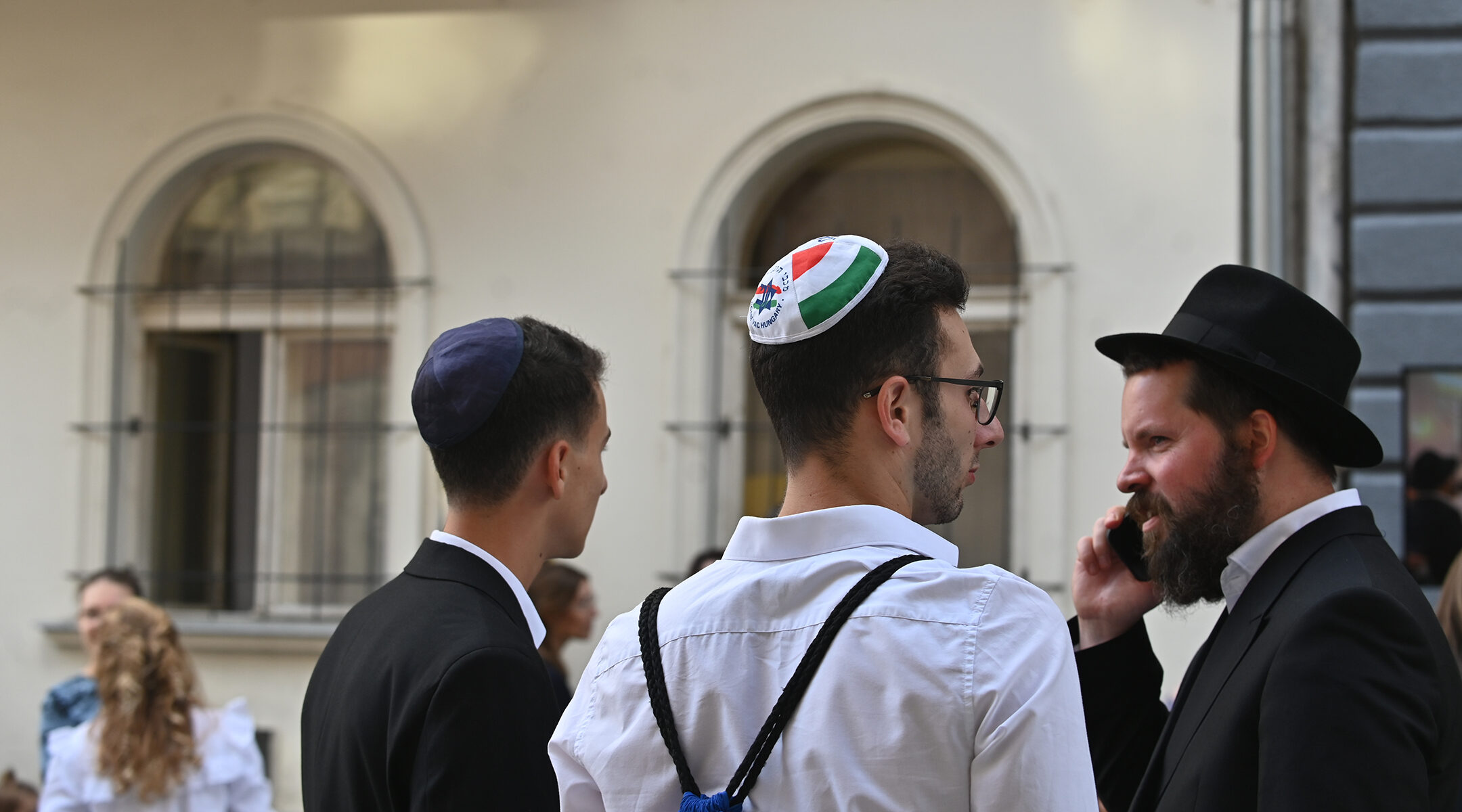 Hungarian Jews celebrate the opening of a new synagogue in Budapest on Aug. 27, 2021. (Cnaan Liphshiz)