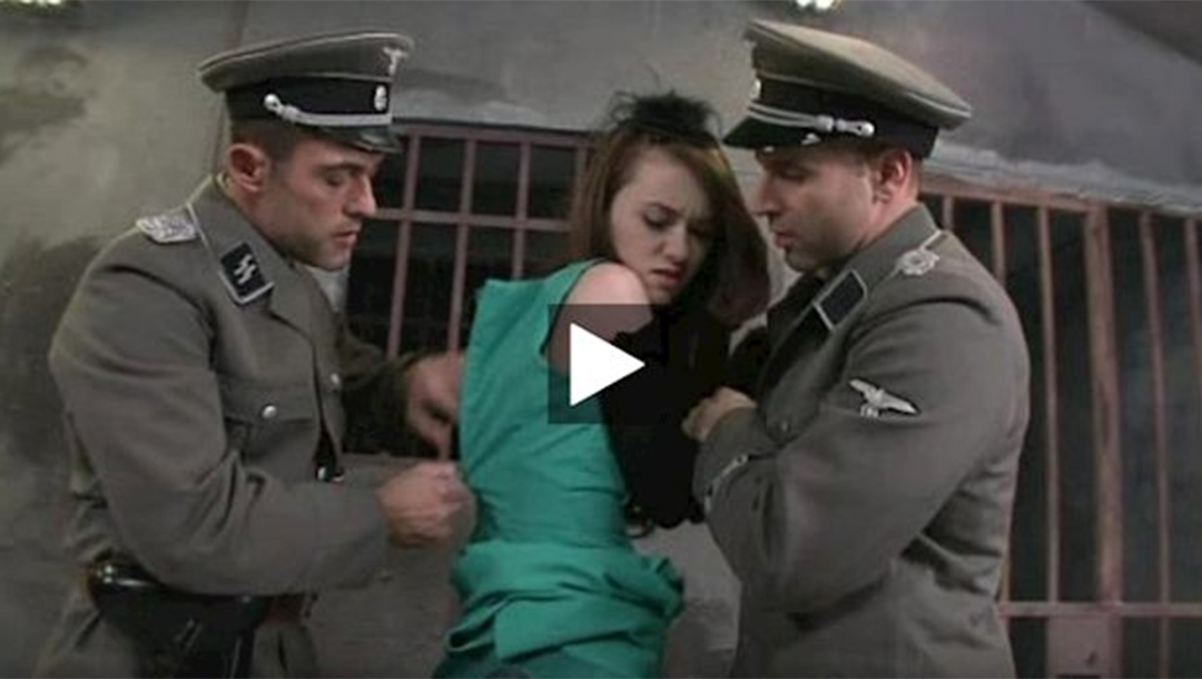 A screeshot of a porn video depicting Nazis raping a Jew. (FOA)